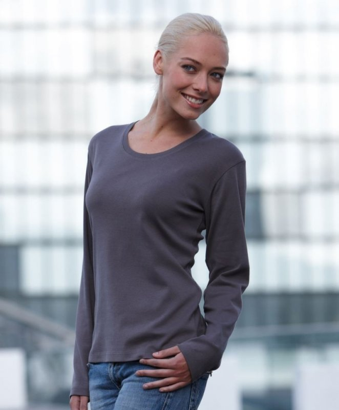 Damen Ripp T-Shirt Langarm, James & Nicholson