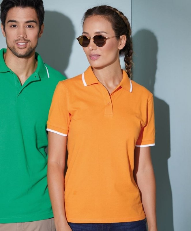 Damen Piqué Poloshirt Tipping, James & Nicholson